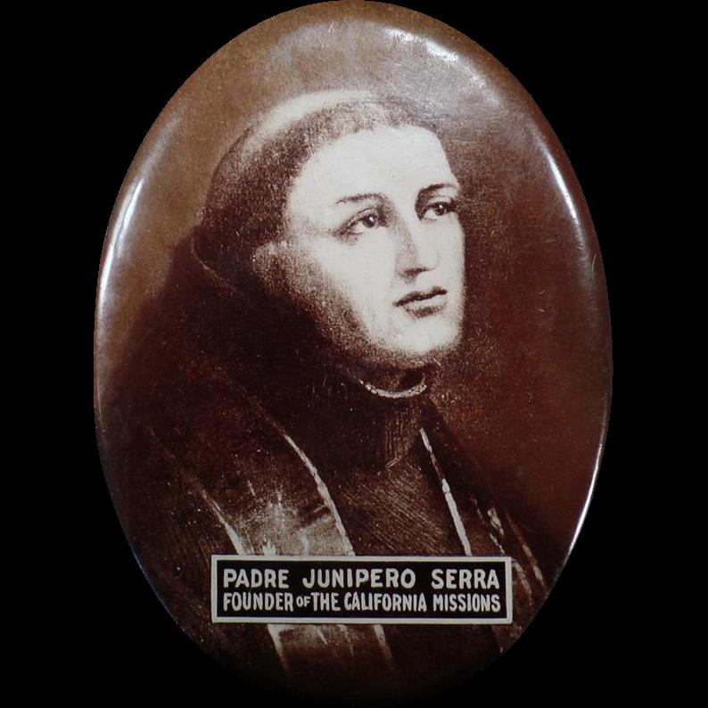 Vintage Celluloid Mirror - Padre Junipero Serra