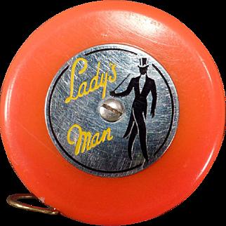 Vintage Tape Measure - Lady's Man - Reddish Orange