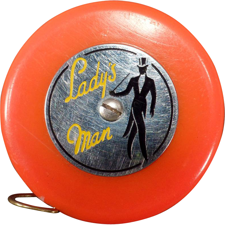 Vintage Tape Measure - Lady's Man - Reddish Orange