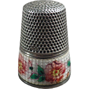 Vintage Sewing Thimble - Silver & Guilloche Enamel with Floral Design - German