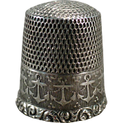 Vintage Sterling Thimble with Repeating Anchor Design