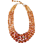 Vintage Triple Strand Bead Necklace - Vibrant Orange Aurora Borealis - Western Germany