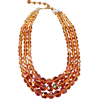 Vintage Triple Strand Bead Necklace - Vibrant Orange Aurora Borealis - Western Germany