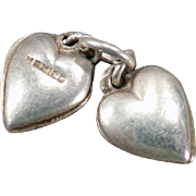 Vintage Silver Charm - Two Tiny Puffy Hearts - Mexico