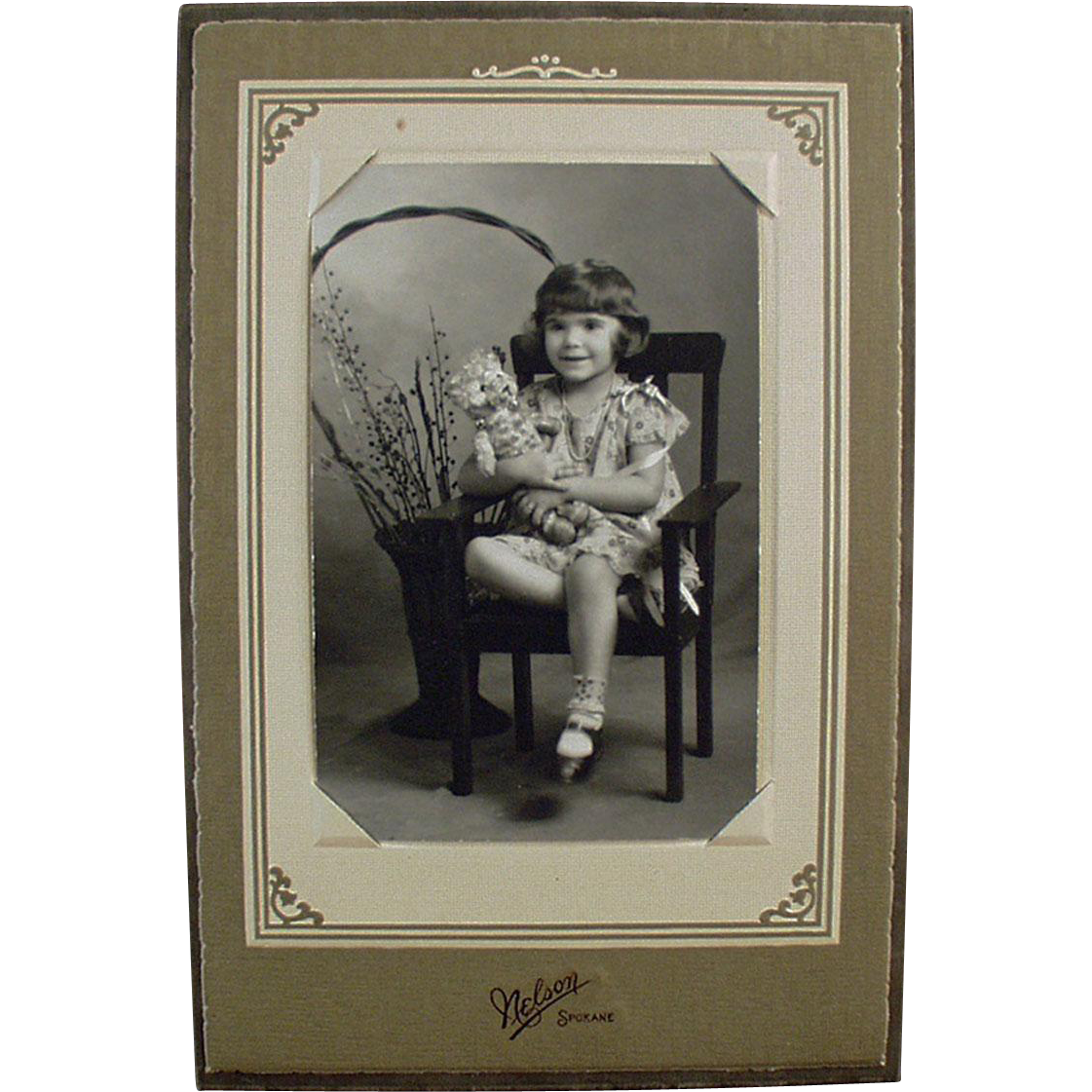 Vintage Photograph in Easel Frame - Little Girl with Old Teddy Bear