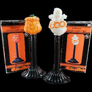 Vintage Electric Halloween Lamp Novelties - Pumpkin & Ghost w- Boxes
