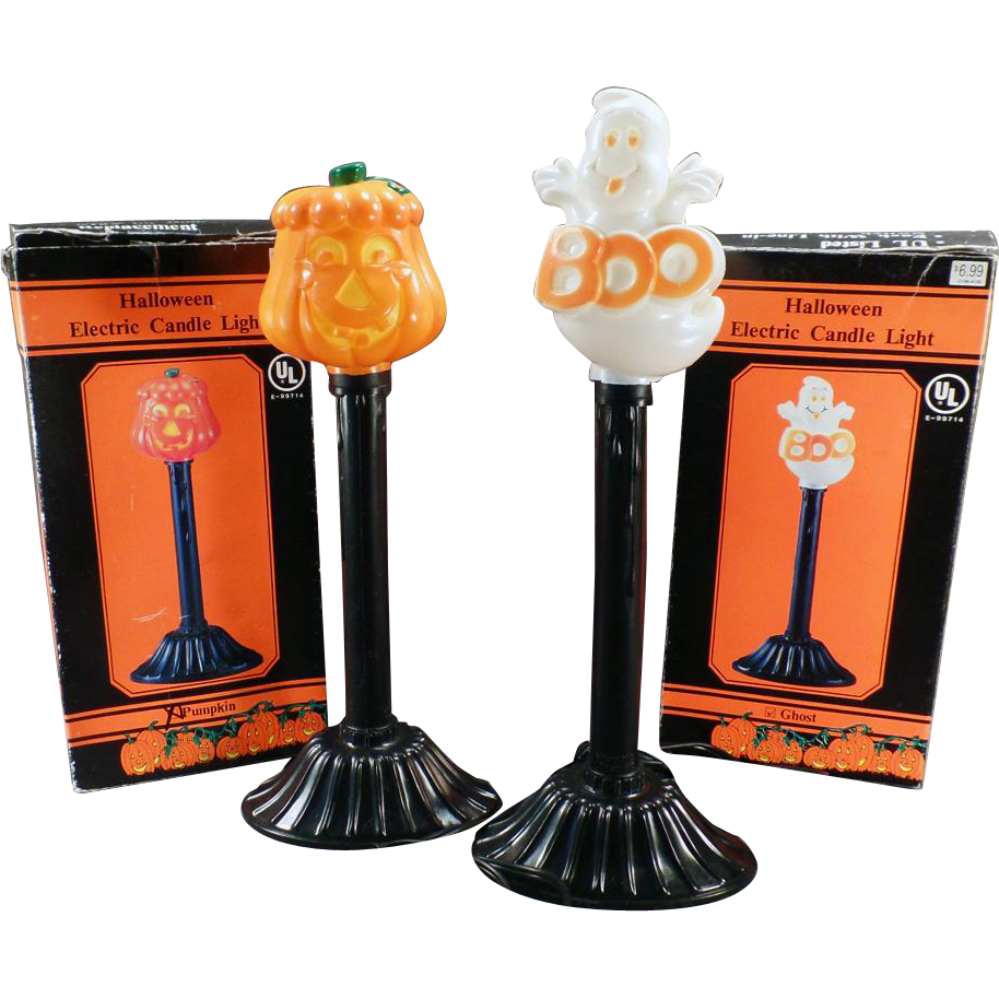 Vintage Electric Halloween Lamp Novelties - Pumpkin & Ghost w- Boxes