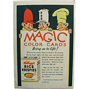 Vintage Kellogg's Magic Color Cards with Snap, Crackle & Pop
