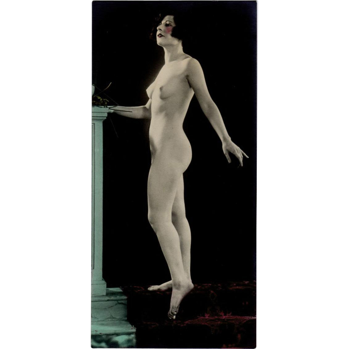 Hand Tinted Vintage Photograph - circa 1920's - Posed Nude Woman