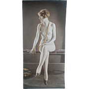 Old Hand Tinted Photograph of a Seated Nude Woman - circa 1920's