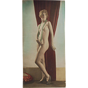 Hand Tinted Old Photograph of a Posed Nude Woman - circa 1920's