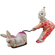 Vintage Celluloid Wind Up Clown and Donkey Toy - See Him in Action on Facebook