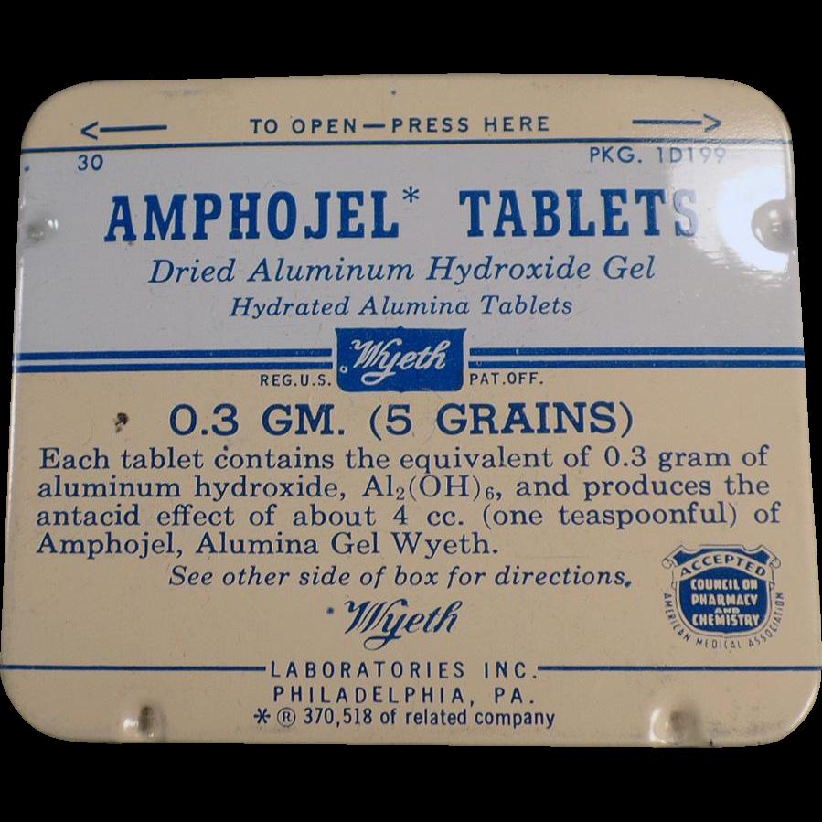 Vintage  Amphojel Tablets Medicine Tin - Wyeth