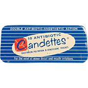 Vintage Medical Tin - Candettes Antibotic Troches Tin