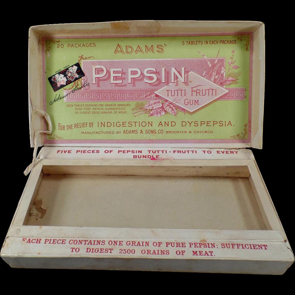 Vintage Adams' Pepsin Gum Display Box - Tutti Frutti