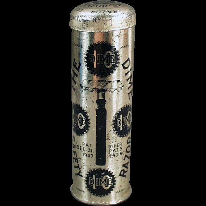 Vintage Dime Safety Razor with Original Tin - Nice Graphics