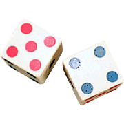 Vintage Bakelite Dice with Colored Pips - One Pair