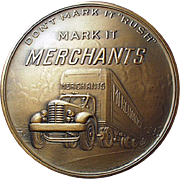Vintage Bronze Paperweight Medallion - Merchant Trucking