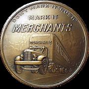 Vintage Bronze Paperweight Medallion - Merchant Trucking