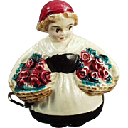 Vintage Cellulloid Tape Measure - Girl with Baskets of Flowers