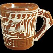 Vintage Frankoma - Mayan-Aztec Mug in Desert Gold Glaze