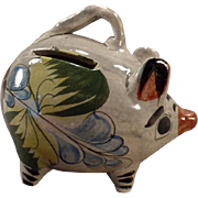 Richly Colored Mexican Pottery Piggy Bank