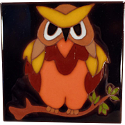 Vintage Italian Art Tile - Colorful Owl Design - Edilgres