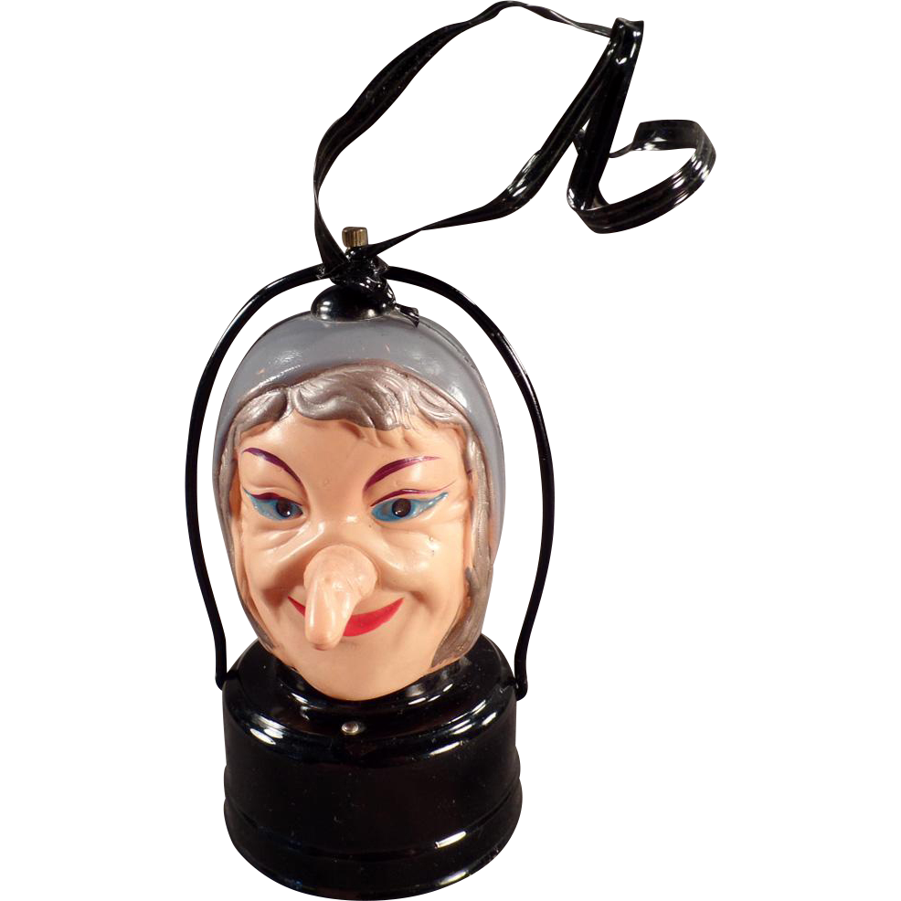 Vintage Halloween Lantern - Celluloid Witch - Battery Operated