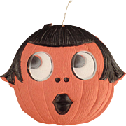 Vintage Halloween Decoration - Die Cut Pumpkin Girl - Made in Germany