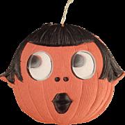 Vintage Halloween Decoration - Die Cut Pumpkin Girl - Made in Germany