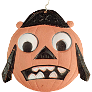 Vintage Halloween Decoration - Die Cut Pirate Pumpkin Face
