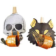 Vintage Black Cat & Skull Noise Makers - Halloween Whistles