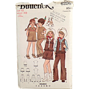 Children's Vintage Costumes Pattern - Cowboys & Indians - Butterick #6296