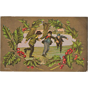 Vintage Christmas Postcard - Young Boys Ice Skating