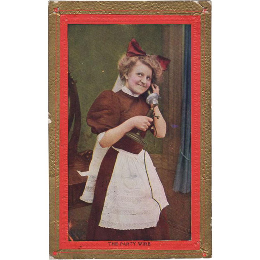 Vintage Postcard - Photograph of a Maid on the Telephone Party Wire