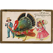 Vintage Thanksgiving Postcard - Big Turkey and Young Children
