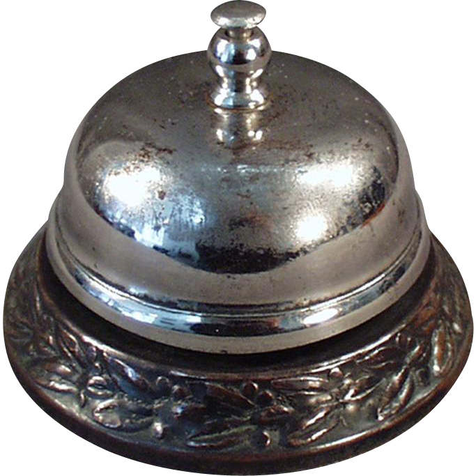 Vintage Counter Top Bell with Decorative Base for Hotel or General Store Counter