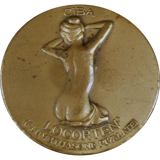 Vintage Bronze Advertising Paperweight Medallion - Ciba Nude