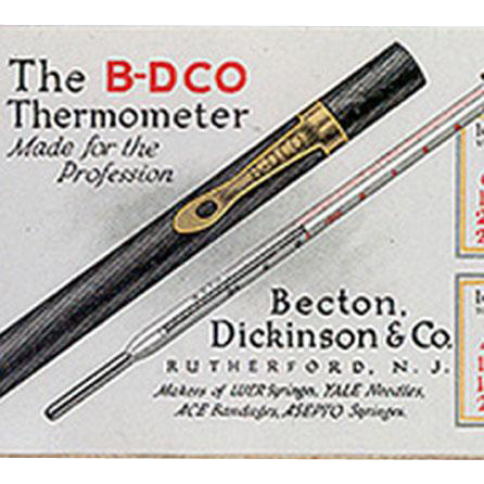 Vintage Medical Advertising - Old Celluloid Blotter - B-D Thermometer - 1921 Calendar