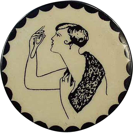 Vintage Celluloid Pocket Mirror - Naughty Lady Optical Puzzle