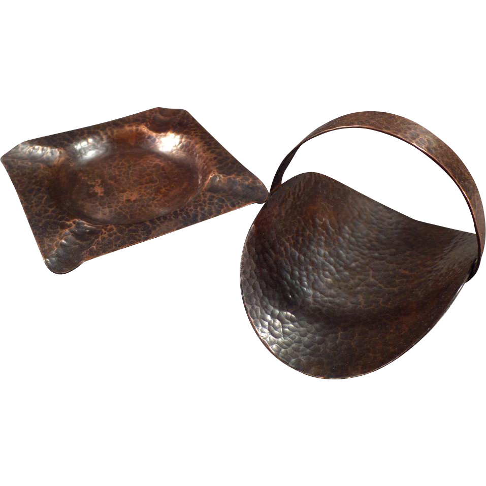 Vintage Hammered Copper Ashtray with Matching Cigarette Holder