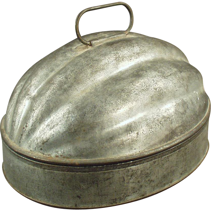 Vintage Pudding Mold - Melon Shaped Tin Mold - 2 Quart Capacity