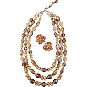 Vintage Triple Strand Bead Necklace with Earrings – Warm Autumn Colors– Western Germany