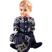 Very Large Vintage Celluloid Doll Wearing an Old Olympic Style Sweater