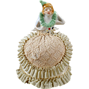 Vintage Half Doll Pincushion with Original Dress