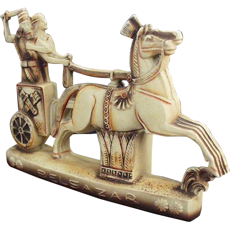 Vintage Schafer and Vater Porcelain - Belsazar Figurine with Horse Drawn Chariot