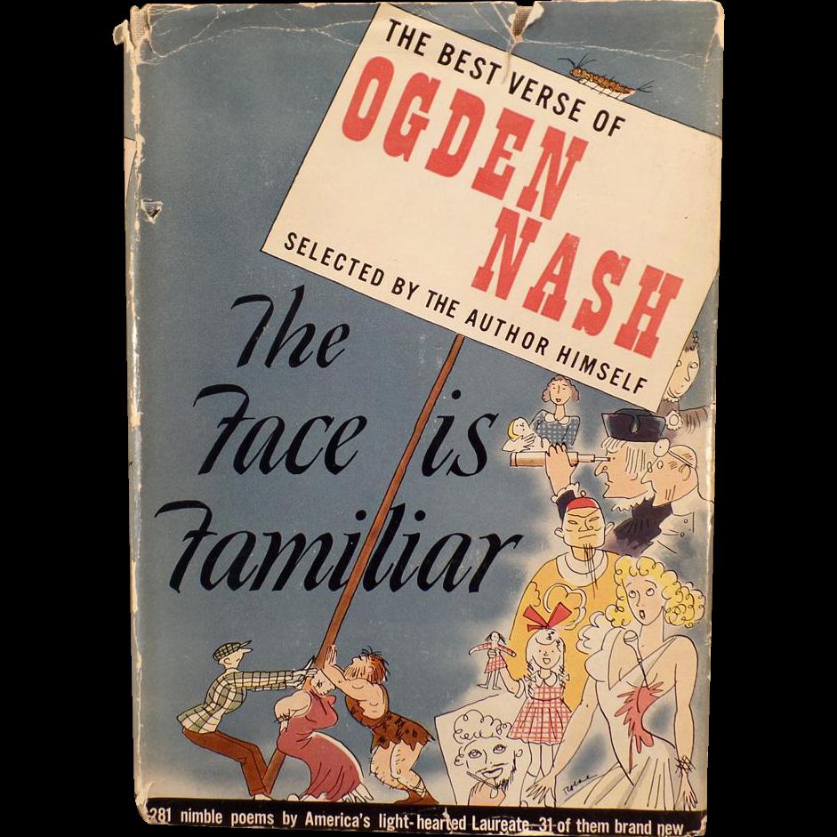 Vintage Hardbound Book – The Best Verse of Ogden Nash – The Face is Familiar 1941