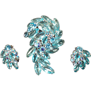 Vintage Brooch with Matching Earrings – Aquamarine Rhinestones & Marquis