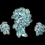 Vintage Brooch with Matching Earrings – Aquamarine Rhinestones & Marquis