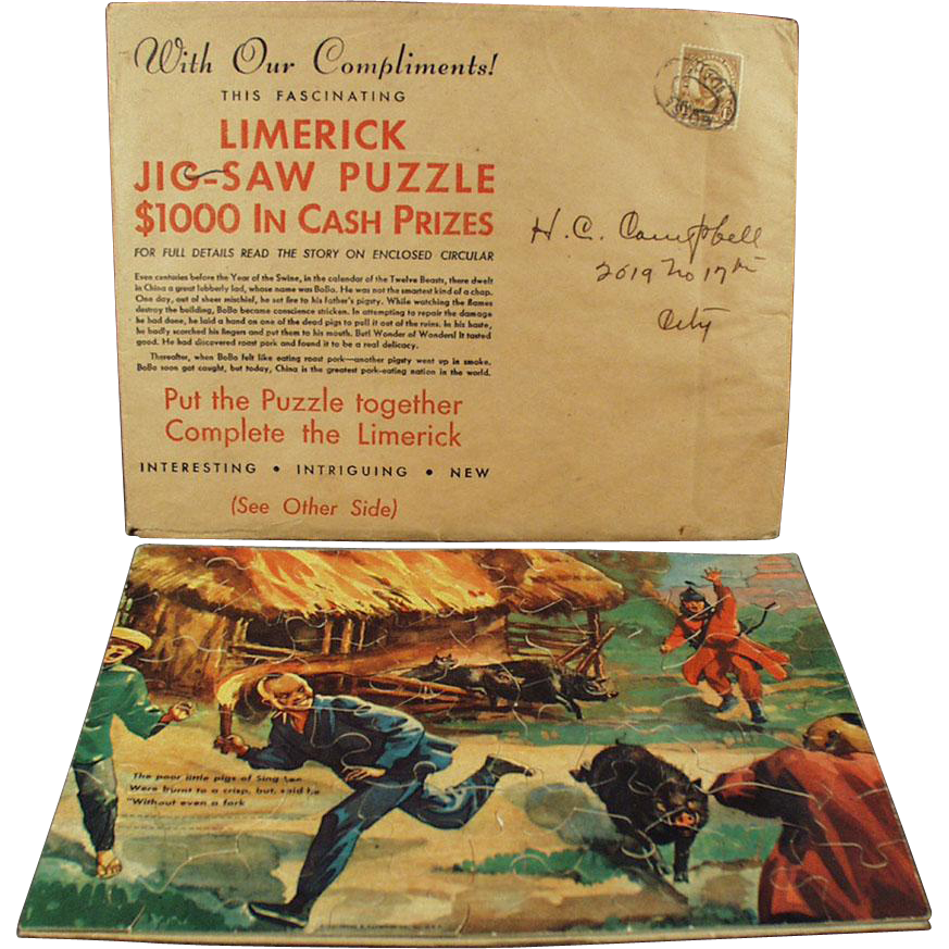 Vintage Advertising Puzzle Premium - Fun & Colorful Limerick